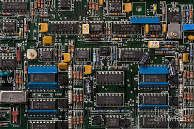 Computer Circuit Board Art Print by Jim Corwin