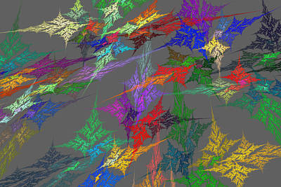 Computer Generated Abstract Fractal Flame With Gray Background Art Print by Keith Webber Jr