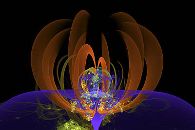 Fractal Flame Photograph - Computer Generated Art Digital Fractal Abstract Orange Blue Black by Keith Webber Jr