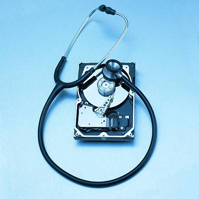 Stethoscope Photograph - Computer Hard Drive And Stethoscope by Science Photo Library