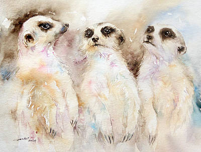 Meerkat Painting - Comrades  by Arti Chauhan