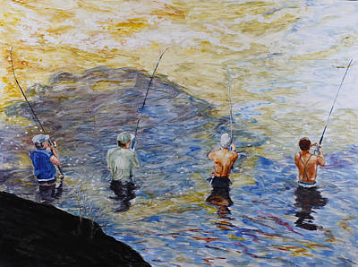 Decoupage Painting - Comrades In Fishing by Tracy Feldman