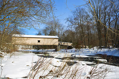 Comstock Covered Bridge In Winter. Print by Diane Diederich