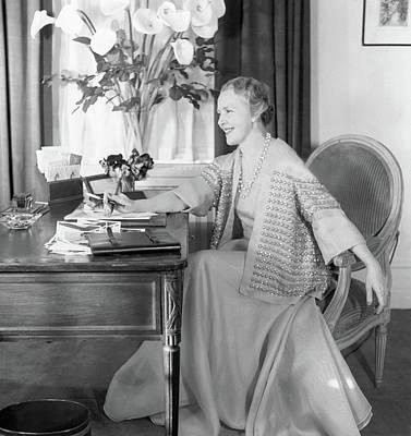 Book Jacket Photograph - Comtesse Jean De Polignac At Her Desk by Horst P. Horst