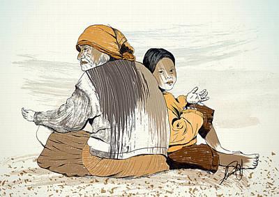 Con Su Abuela Art Print