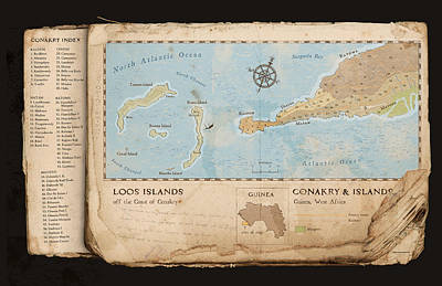 Old Map Digital Art - Conakry Map by Dave Kobrenski