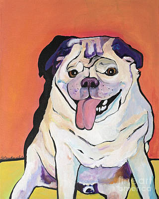 Pat Saunders-white Dog Painting - Conan by Pat Saunders-White