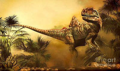 Concavenator Was A Theropod Dinosaur Art Print by Philip Brownlow