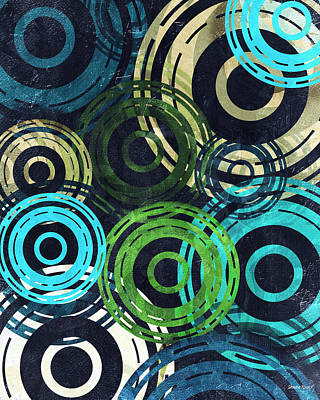 Digital Art - Concentric Intensity - Blue by Shawna Rowe
