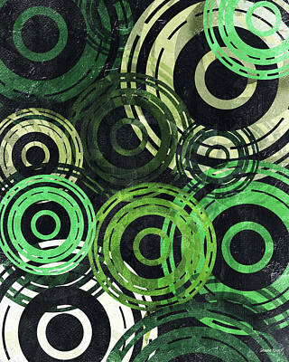 Digital Art - Concentric Intensity - Green by Shawna Rowe