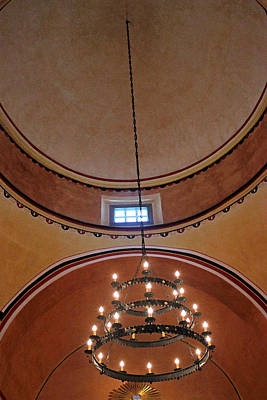 Photograph - Concepcion Mission Ceiling W Chandalier by Mary Bedy