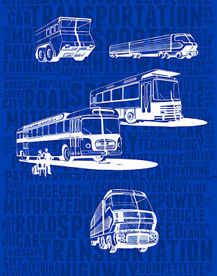 Long Street Digital Art - Concept-art Of Express Bus by Daniel Gladkii