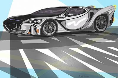 Classic Fiat Digital Art - Concept Car By Ever Inward by Ever Inward