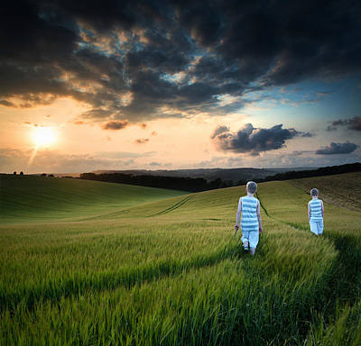 Concept Landscape Young Boys Walking Through Field At Sunset In  Art Print by Matthew Gibson