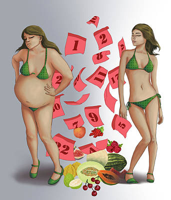 Plump Women Wall Art - Photograph - Conceptual Illustration Of Healthy Dieting by Fanatic Studio / Science Photo Library