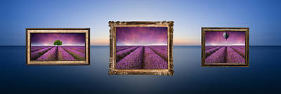 Water Filter Photograph - Conceptual Image Of Lavender Landscape Pictures Hanging In Frame by Matthew Gibson