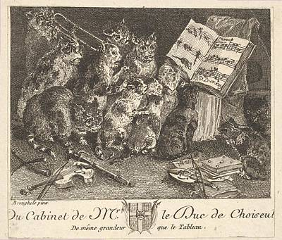 Anton Drawing - Concert Of Cats, After The Painting by Balthasar Anton Dunker
