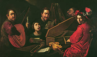 Lute Photograph - Concert With Musicians And Singers, C.1625 Oil On Canvas by Pietro Paolini