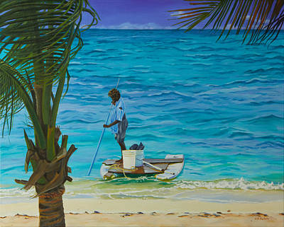 Painting - Conch Fishing In The Turks by Liz Zahara