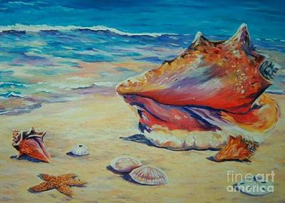 Beach Shell Sand Sea Ocean Painting - Conch Shell by John Clark