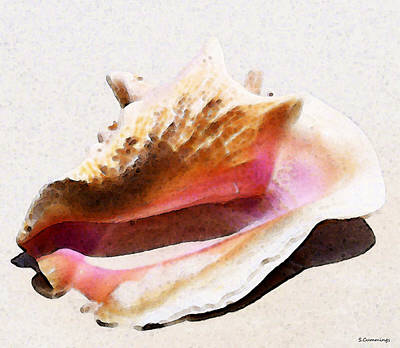 Sea Shells Painting - Conch Shell - Listen by Sharon Cummings