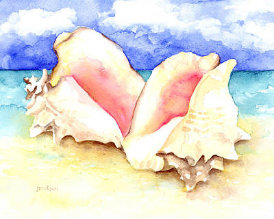 Conch Shells On Beach Art Print