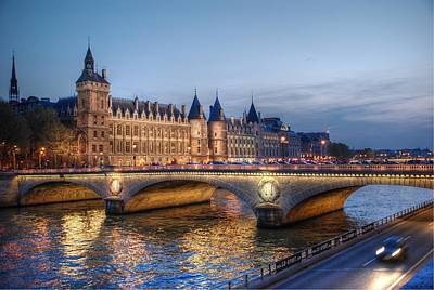 Art Print featuring the photograph Conciergerie And Pont Napoleon At Twilight by Jennifer Ancker