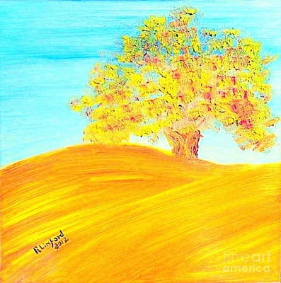Painting - Concord California Oak 2 And Poem Concord In The Son by Richard W Linford