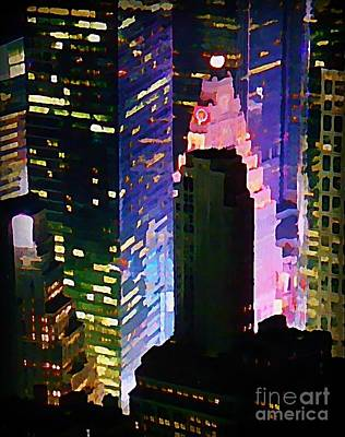 Concrete Canyons Of Manhattan At Night  Print by John Malone