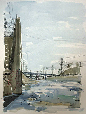 Painting - Concrete Los Angeles River by Vaughan Davies
