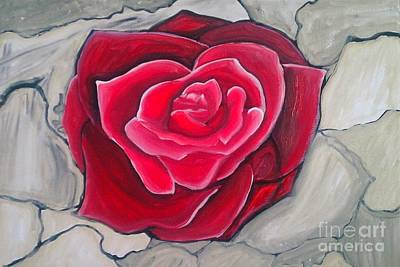 Art Print featuring the painting Concrete Rose by Marisela Mungia