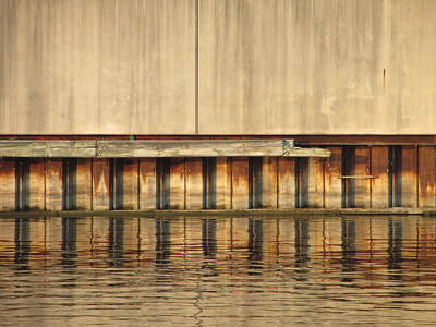 Photograph - Concrete Wall And Water 1 by Anita Burgermeister