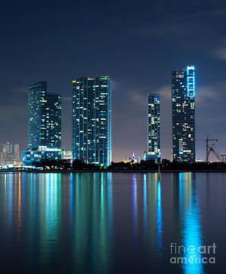 Art Print featuring the photograph Condominium Buildings In Miami by Carsten Reisinger