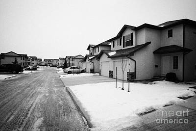 condos with snow cleared from streets and driveways Saskatoon Saskatchewan Canada Art Print