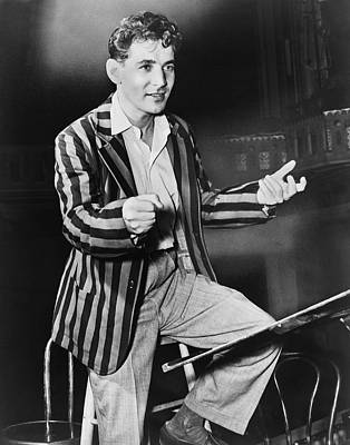 Black Curly Hair Photograph - Conductor Leonard Bernstein by Fred Palumbo