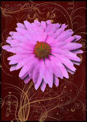Cone Flower Dahlia Art Print by Larry Bishop