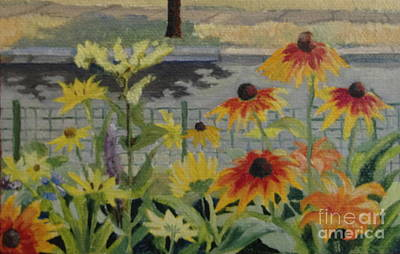 Painting - Coneflowers And Goldenrod by Amie Ziner