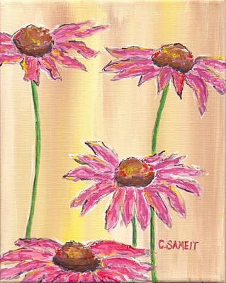 Coneflowers Four Print by Cheryl Sameit