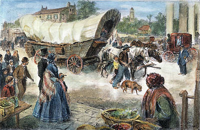 Dirt Roads Drawing - Conestoga Wagon, 1850s by Granger