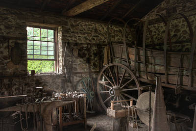 Print featuring the photograph Conestoga Wagon At The Blacksmith - Wagon Repair by Gary Heller