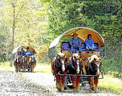 Conestoga Wagon Digital Art - Conestoga Wagons by A Gurmankin