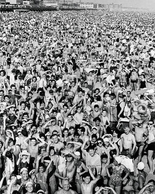 Coney Island Photograph - Coney Island - Beach Crowd by MMG Archives