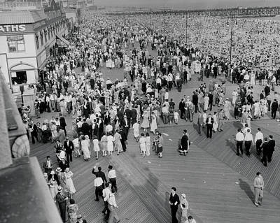 Beach Photograph - Coney Island - Boardwalk And Beach by MMG Archives