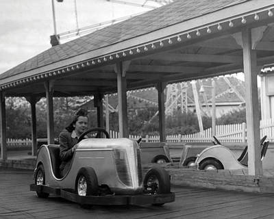 Vintage Photograph - Coney Island - Bumper Cars by MMG Archives