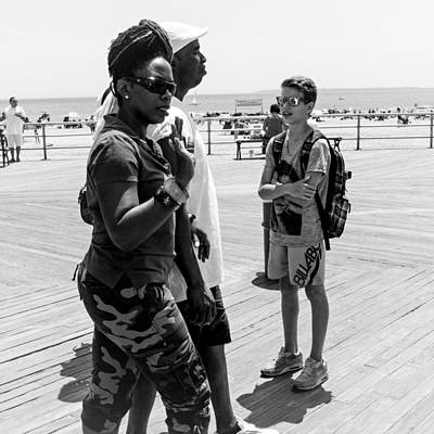 Photograph - Coney Island Boardwalk July 2014 Bw by Frank Winters