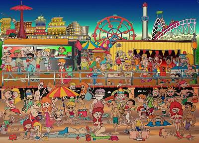 Drawing - Coney Island Boardwalk by Paul Calabrese