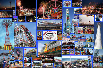 Print featuring the photograph Coney Island Collage by Steven Spak