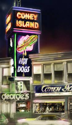 Hot Dogs Mixed Media - Coney Island Hot Dog by Mark Tonelli