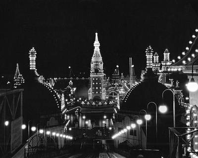 Coney Island - Nighttime Roller Coaster Art Print by MMG Archives