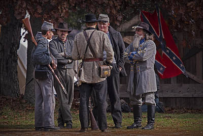 Confederate Civil War Reenactors With Rebel Confederate Flag Print by Randall Nyhof